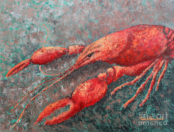 Animal Poster featuring the painting Crawfish by Todd Blanchard