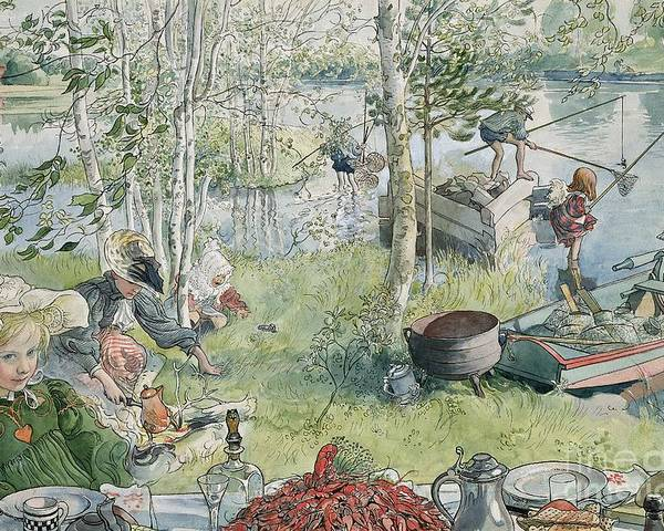 Crayfishing Poster featuring the painting Crayfishing by Carl Larsson