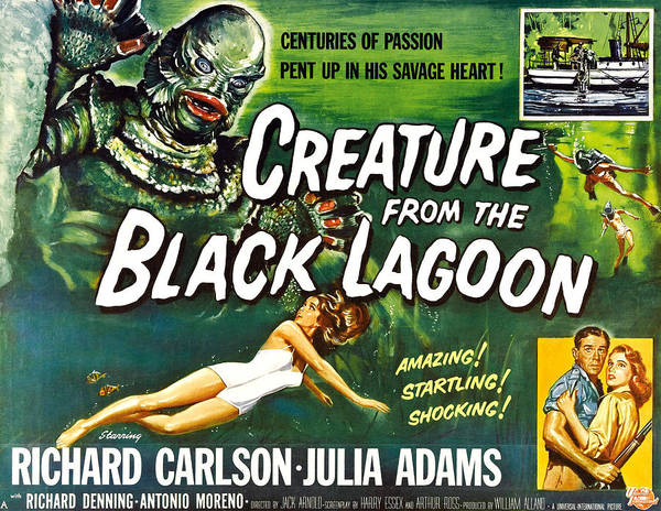1950s Poster Art Poster featuring the photograph Creature From The Black Lagoon, Upper by Everett