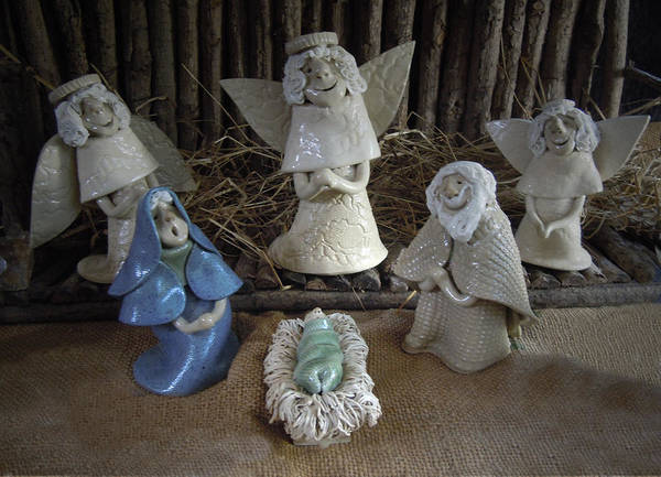 Nativity Poster featuring the photograph Creche Mary Joseph And Baby Jesus by Nancy Griswold