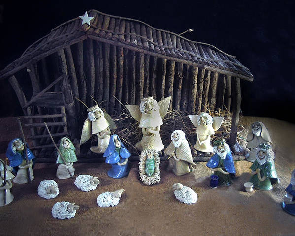 Nativity Poster featuring the photograph Creche Top View by Nancy Griswold