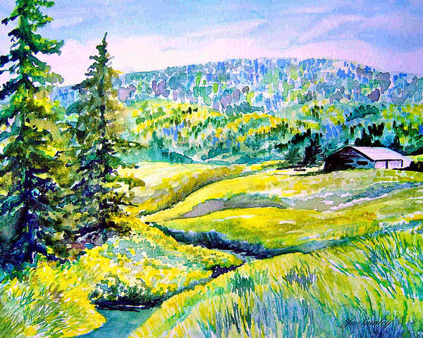 Arkansas Creek And Cottage Poster featuring the painting Creek To The Cabin by Joanne Smoley