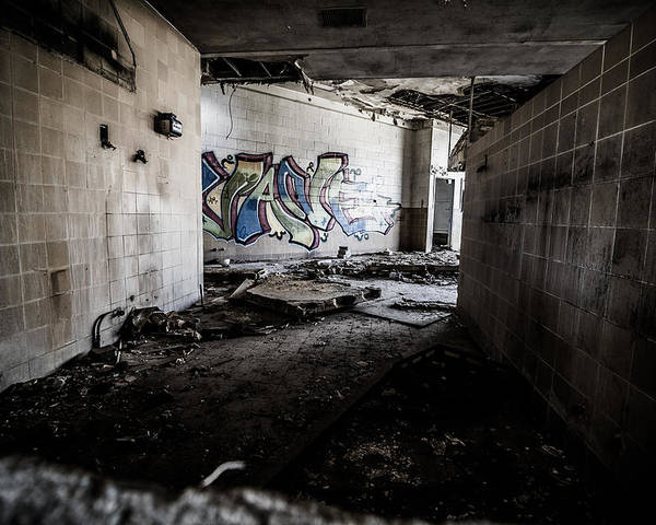 Abandoned Poster featuring the photograph Creepy Hallway by Mike Dunn