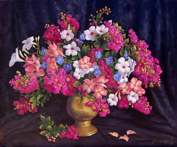 Roses Poster featuring the painting Crepe Myrtle And Roses by Johanna Girard