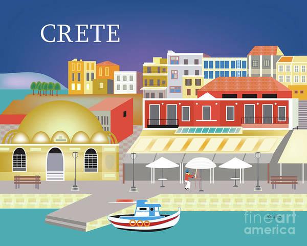 Crete Poster featuring the digital art Crete Greece Horizontal Scene by Karen Young