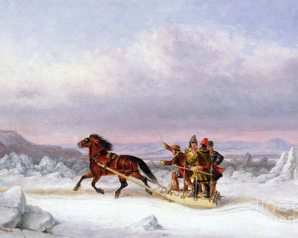 Crossing Poster featuring the painting Crossing The Saint Lawrence From Levis To Quebec On A Sleigh by Cornelius Krieghoff