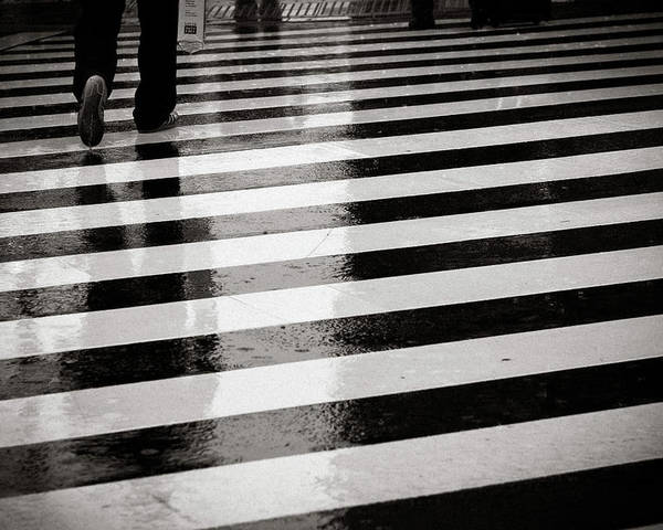 Adult Poster featuring the photograph Crosswalk In Rain by photo by Jason Weddington