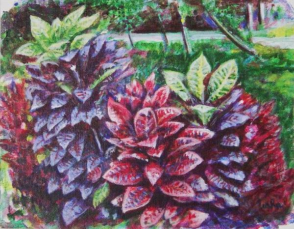 Landscape Poster featuring the painting Crotons 1 by Usha Shantharam
