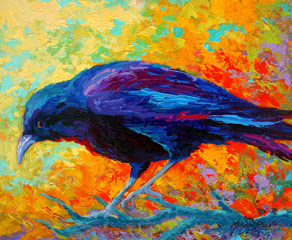 Crows Poster featuring the painting Crow IIi by Marion Rose