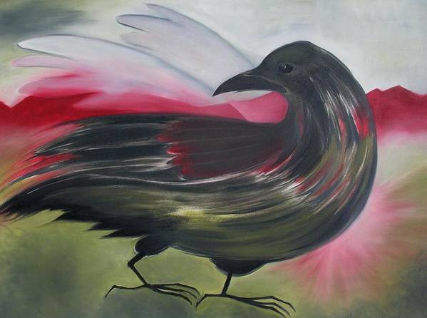 Crow Poster featuring the painting Crow by Karen MacKenzie