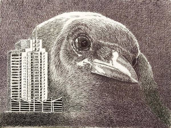 Pen Poster featuring the drawing Crow Over Casino Windsor by Wade Clark
