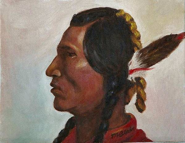 Native American Poster featuring the painting Crow Warrior by Merle Blair