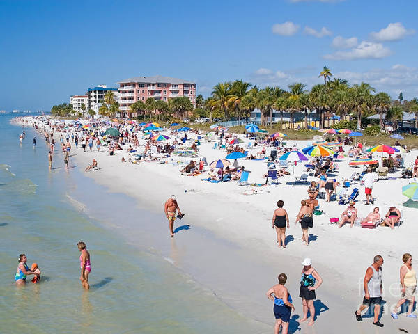 Beach Poster featuring the photograph Crowd On A Summer Beach In Ft Meyers Florida by ELITE IMAGE photography By Chad McDermott