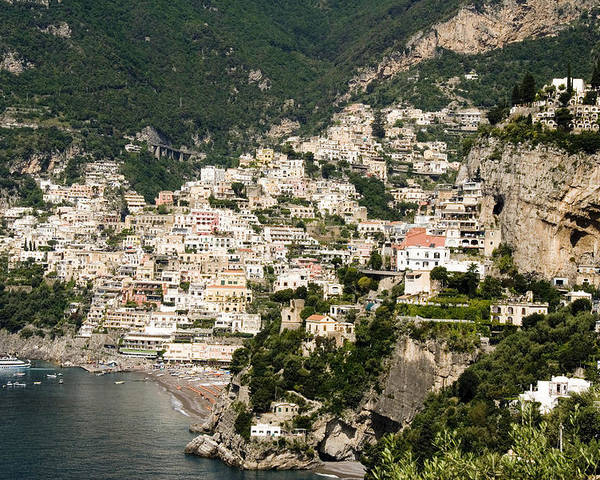 Amalfi Poster featuring the photograph Crowded Slopes Of Amalfi by Charles Ridgway