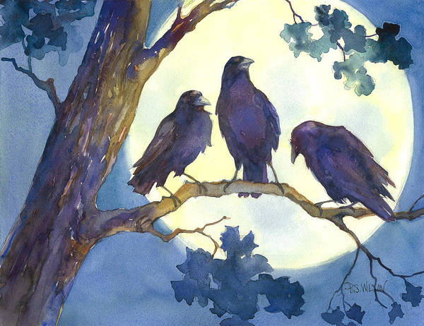 Crows Poster featuring the painting Crows In Moonlight by Peggy Wilson