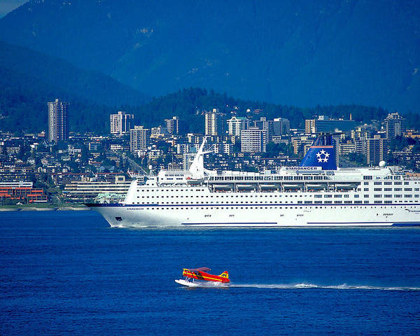 Vancouver Poster featuring the photograph Cruise Ship In Vancouver by Carl Purcell