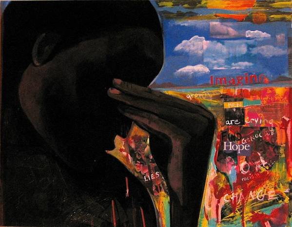 African American Poster featuring the painting Crying Man Change by Joyce Owens