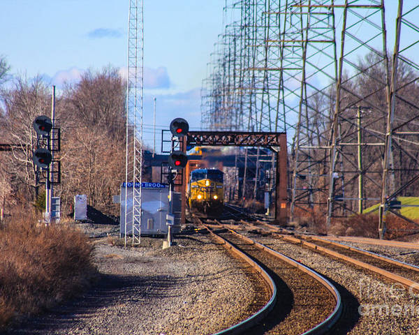 This Is Engine Csx 237 Heading Into The Bound Brook Train Station Poster featuring the photograph Csx 237 by William Rogers
