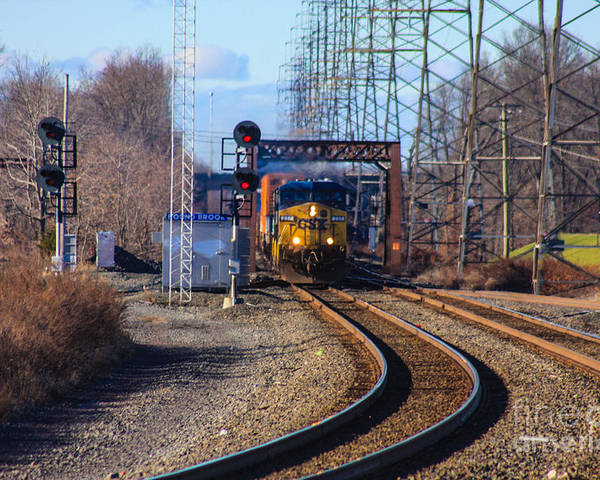 This Is A Photo Of A Csx Engine Coming Into The Bound Brook Station In New Jersey. Poster featuring the photograph Csx Coming Towards Bound Brook Station by William Rogers