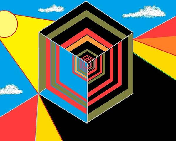 Poster featuring the digital art Cube by Van Winslow
