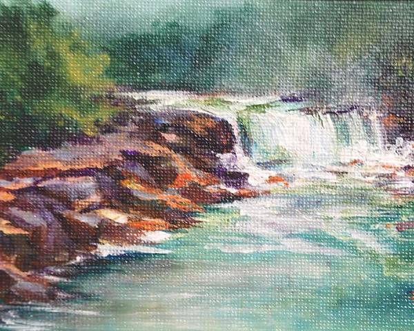 Waterfall Poster featuring the painting Cumberland Falls by Donna Pierce-Clark