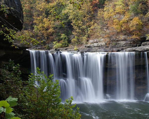 Landscape Poster featuring the photograph Cumberland Falls In Green by Bj Hodges
