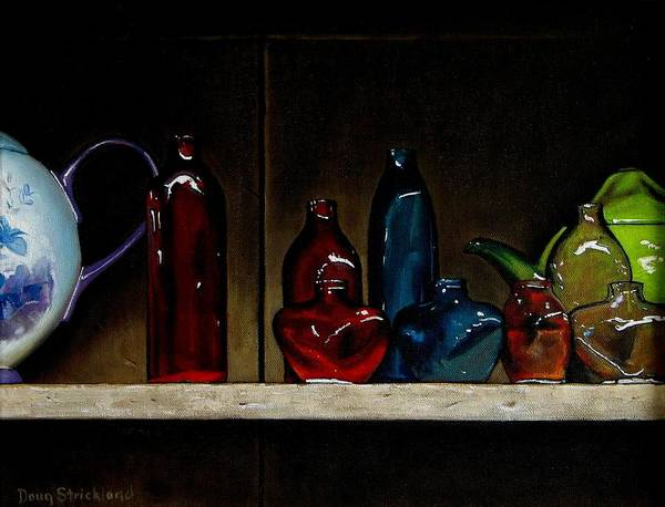 Doug Strickland Poster featuring the painting Cupboard Bottles by Doug Strickland