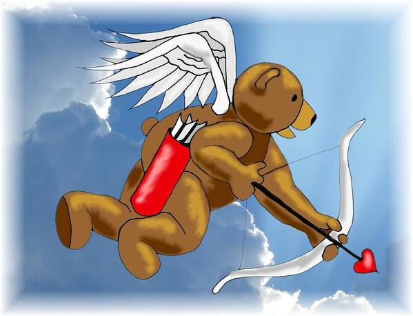 Bear Poster featuring the digital art Cupid Bear by Scarlett Royal
