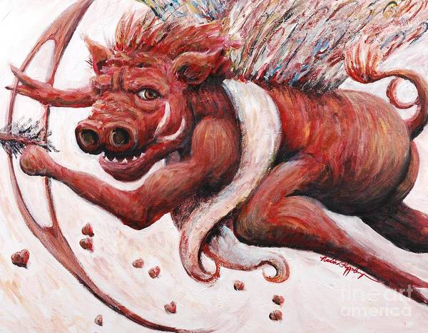 Pig Poster featuring the painting Cupig by Nadine Rippelmeyer