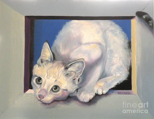 Cat Greeting Card Poster featuring the painting Curiosity by Susan A Becker