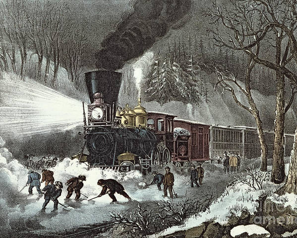 American Poster featuring the painting Currier And Ives by American Railroad Scene
