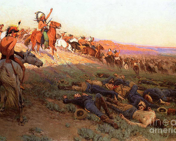 Custer's Last Stand; Battle; Little Bighorn; Greasy Grass; George Armstrong Custer; Crazy Horse; Native American Indian; Indians; Americans; United States; Army; Cavalry; Horses; Great Sioux War; Lakota; Northern Cheyenne; Arapho; Dead; Death; Bodies; Triumph; Victory; Triumphal; Leader; Dusk; Sunset; Dramatic; Heroic; Black Hills War; Combat; Warfare; Battles Poster featuring the painting Custer's Last Stand by Richard Lorenz