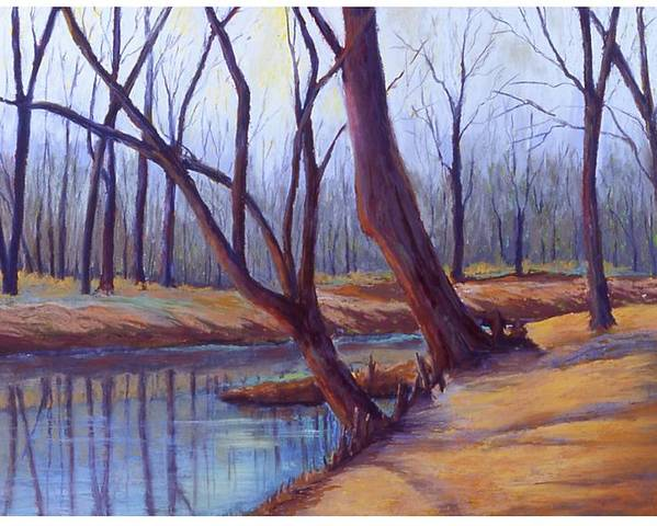 Landscape Poster featuring the painting Cypress Trees by MaryAnn Stafford