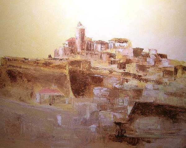 Original Cityscpae Poster featuring the painting D Alt Vila Ibiza Old Town by Lizzy Forrester