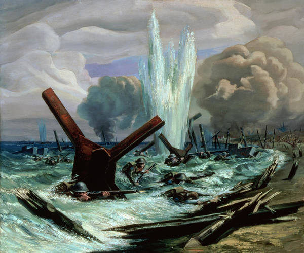 D-day - The Assault Poster featuring the painting D Day by Orville Norman Fisher