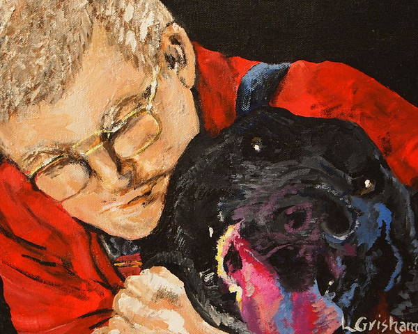 Pets Poster featuring the painting Daddy And Borus by Laura Grisham