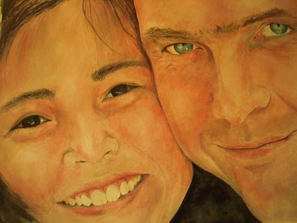 Portrait Poster featuring the painting Daddy N Me by Susan Gauthier