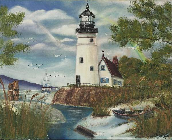 Poster featuring the painting Dads Lighthouse by Darlene Green