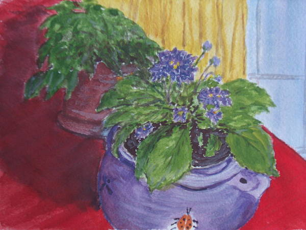 Still Life Poster featuring the painting Dads Violets by Pete Maier