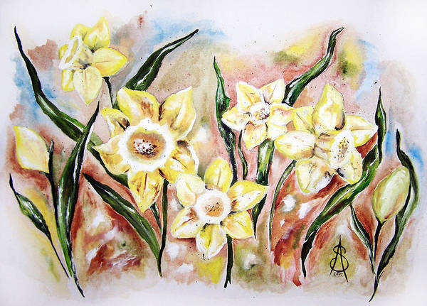 Floral Poster featuring the painting Daffodil Drama by Amanda Sanford