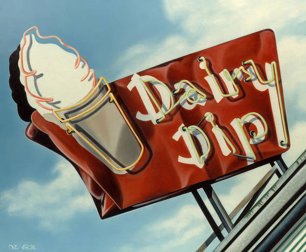 Neon Poster featuring the painting Dairy Dip by Van Cordle
