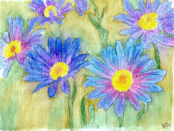 Flowers Poster featuring the painting Daisey Field by Margie Byrne