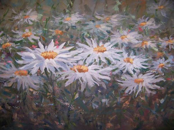 Field Of Daisies. Poster featuring the painting Daisies by Bart DeCeglie