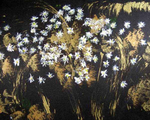 Abstract Poster featuring the painting Daisies In Gold Abstraction by Michela Akers