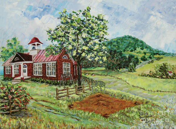Landscape Poster featuring the painting Dale Enterprise School by Judith Espinoza