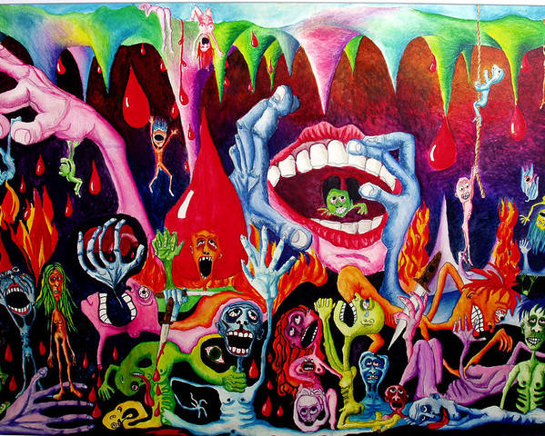 Hell Poster featuring the painting Damnation Of The Evil by Nancy Mueller