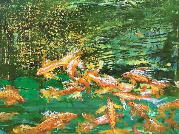 Gold Fish Poster featuring the painting Dance of Golden Angels by J Bauer