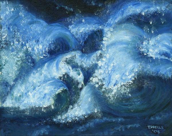 Strong Waves Painted In Blues And Tinges Of Green With Vibrant Color Poster featuring the painting Dance Of The Stormy Sea by Tanna Lee M Wells