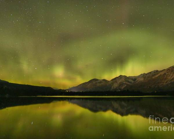 Canadian Northern Lights Poster featuring the photograph Dancing Around The Mountains by Adam Jewell