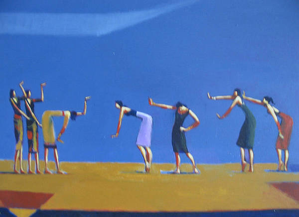 Figure Poster featuring the painting Dancing Figures by Ihab Bishai